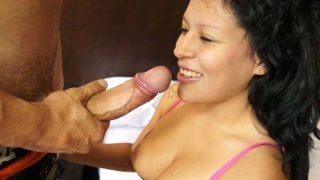 Frisky curly haired Raquel Love gives awesome blowjob image
