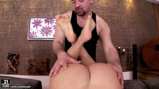 Creative doggyfucking and foot worship with voluptuous Debbie White image