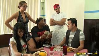 Money Talks crew is running a restaurant image
