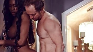 Big breasts ebony Nadia Jay pussy rammed by white guy in bed image