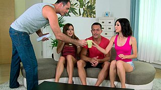 Naughty babes on a wild group sex party image