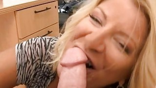 Sexy mature babe is stud with soaked blowjob image