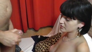 Czech amateur chick plays with two_cocks and gets facial image