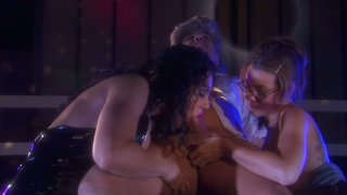 Cute sucking head Ryder Skye takes part in hot threesome action image