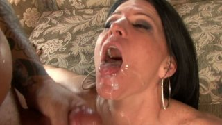 Ugly brunette whore Kendra Secrets pleases two cocks and gets fed with a double portion of jizz image