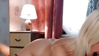 Busty milf in sexy red lingerie pleseared herself on webcam image