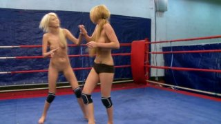 Image: Energetic gals Antonya and Blanche fighting on a boxing ring