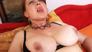 Amateur milf Lora with big natural tits and dildo image