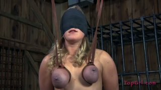 Blindfolded blondie Dia Zerva gets her boobs tied up till they are blue image