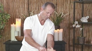 Oiled blonde fucks in massage room image