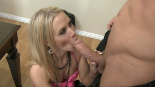 Busted slut Sophia Lynn giving hot blowjob and then she gets her pussy eaten image