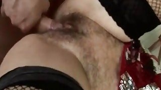 Horniest blonde busty granny in town fingering big hairy pussy_for young dick partner image