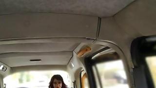 Ebony minx has interracial sex in cab image