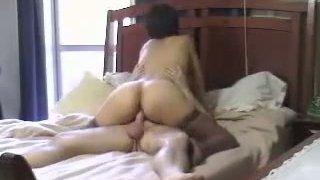 Insatiable amateur housewife fucks her husband on top image