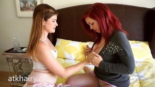Two hot lesbians and one bed_to play on image
