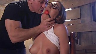 Tied up slaves anal banged in_threesome image