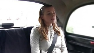 Euro student bangs huge dick in fake cab in public image
