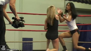 Sporty gals Jessica Moore and Kyra Black wrestle image