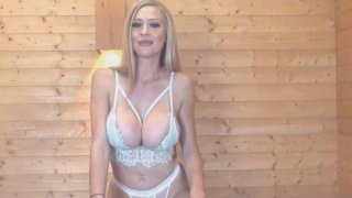 Blonde British Babe Plays_Her Big Tits and Cunt image