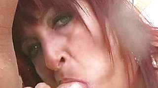 Busty amateur Milf outdoor action_with cum in mout image