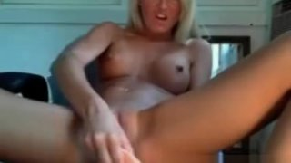 Busty Blonde Babe Squirting And Masturbates image