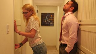 Slutty blond nerd Allie James sucks a cock in the hall image