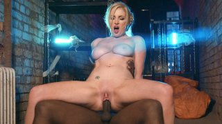 Busty MILF Georgie Lyall rides the black dick reverse cowgirl image