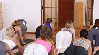 Yoga teacher bangs two babes in threesome image
