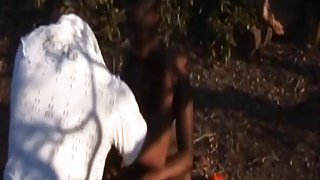 Outdoor bondage and deepthroat with a busty_African slut image