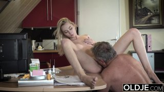 Young Old porn Martha gives grandpa a_sloppy blow image