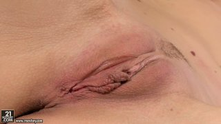 Voluptuous Sophie Moone sucks a dildo like a real cock and tickle fancy image