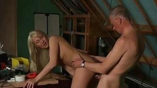 Cutie Big Tits Girl Fucking Grandpa While Masturba image
