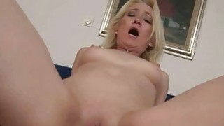 Granny giving blowjob and riding cock in POV image