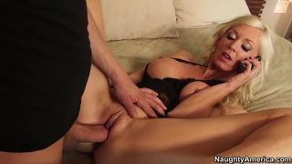 Appetite blonde milf was having a phone sex when her son's best friend came image