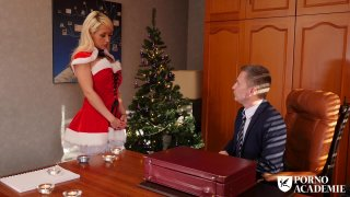 Blonde bitch in stockings fucks with horny guy on christmas image