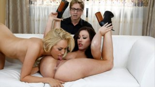 Cuckold husband watches his wife's_lesbian action image