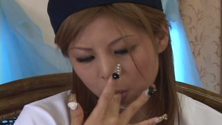 Sloppy blowjob ends up with huge mouthful for Kana Kawai image