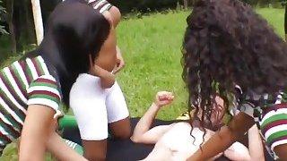 Soccer trannies gang banging horny stud outdoors image