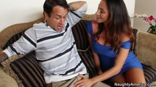 Cock hunter Ariella Ferrera gives a head and gets her hairy pussy licked image
