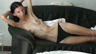 Super skinny anorexic gal shows her stuff and teases solo image