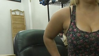 Busty and big ass babe gets her twat fucked by pawn guy image