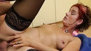 Sexy Mature In Laced Stockings Kitchen Anal Fuck image