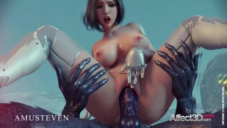 Image: 3D superhero Angelita fucked by an alien monster