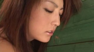 Country chick from Japan Kaede Matshushima masturbates on the bunk bed image