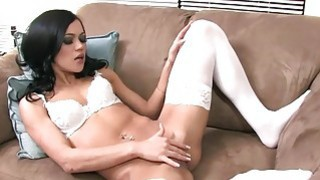 Image: Mandy fingering in white stockings and panties