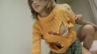 Light haired Japanese housewife takes it doggystyle image