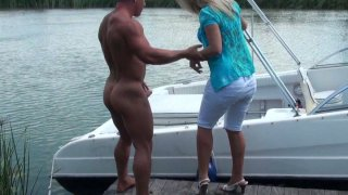 Busty tanned bbw blonde whore Sunny Diamond gets her pussy eaten on the boat. image