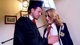 Slutty Student Fucks Her Hot professor on Stairways image