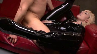 Dominant blonde in PVC catsuit image