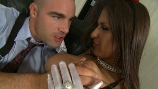 Playful whore Rachel RoXXX gives a blowjob and hot titjob to a hard long dick image